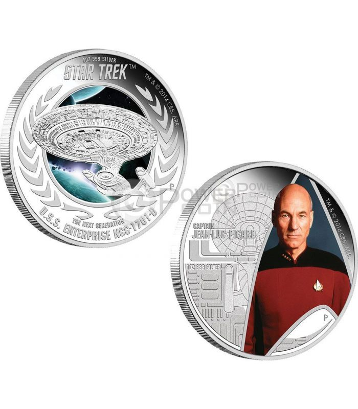 Captain Picard Enterprise Starship Star Trek Two Silber Münze Set 1