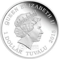 CAPTAIN PICARD ENTERPRISE Starship Star Trek Two Moneda Plata Set 1$ Tuvalu 2015