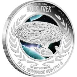 U.S.S. ENTERPRISE NCC-1701-D Starship Star Trek Series Silver Coin 1$ Tuvalu 2015