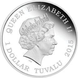 U.S.S. ENTERPRISE NCC-1701-D Starship Star Trek Series Moneda Plata 1$ Tuvalu 2015