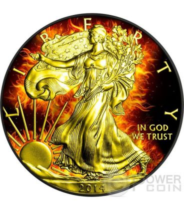 BURNING WALKING LIBERTY Eagle Fuoco Nera Rutenio Moneta Argento 1$ US Mint 2014