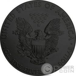 BURNING WALKING LIBERTY Eagle Fire Black Ruthenium Oro 1 Oz Moneda Plata 1$ US Mint 2014