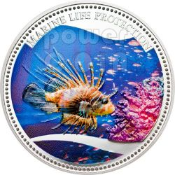 RED LIONFISH Marine Life Protection Silver Coin 5$ Palau 2009