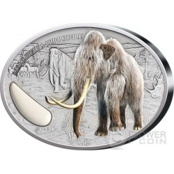 WOOLY MAMMOTH Tusk Prehistoric 2 Oz Moneda Plata 1500 Francs Niger 2015