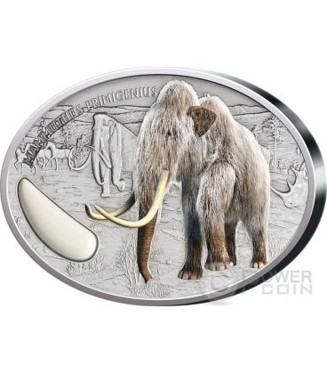 WOOLY MAMMOTH Tusk Prehistoric 2 Oz Silver Coin 1500 Francs Niger 2015