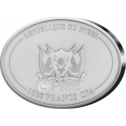 WOOLY MAMMOTH Tusk Prehistoric 2 Oz Серебро Монета 1500 Франков Нигер 2015