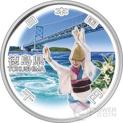 TOKUSHIMA 47 Prefectures (40) Plata Proof Moneda 1000 Yen Japan Mint 2015