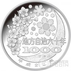 TOKUSHIMA 47 Prefectures (40) Plata Proof Moneda 1000 Yen Japan 2015