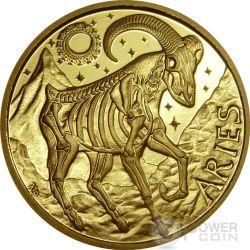 ARIES Memento Mori Zodiac Skull Horoscope Moneda Oro 2015