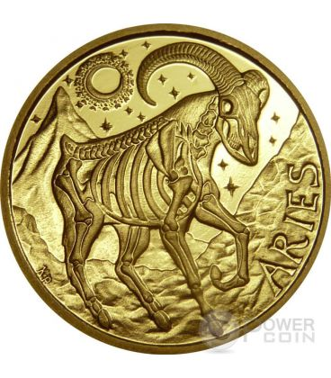 ARIES Memento Mori Zodiac Skull Horoscope Gold Coin 2015