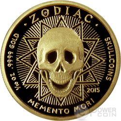 ARIES Memento Mori Zodiac Skull Horoscope Gold Münze 2015