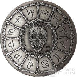 TAURUS Memento Mori Zodiac Skull Horoscope Moneda Plata 2015