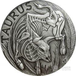 TAURUS Memento Mori Zodiac Skull Horoscope Silver Coin 2015