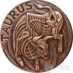 TAURUS Memento Mori Zodiac Skull Horoscope Copper Coin 2015
