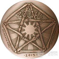 TAURUS Memento Mori Zodiac Skull Horoscope Copper Монета 2015