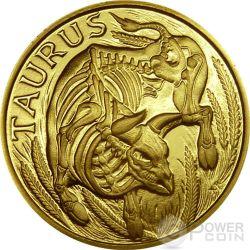 TAURUS Memento Mori Zodiac Skull Horoscope Gold Coin 2015