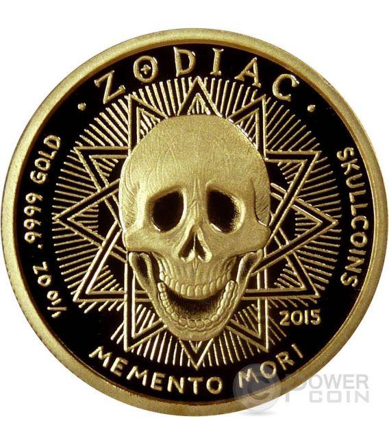 TAURUS Memento Mori Zodiac Skull Horoscope Moneda Oro 2015