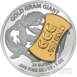 GOLD GRAM GIANT China Asia Edition Silber Münze 25 Rupees Seychelles 2015