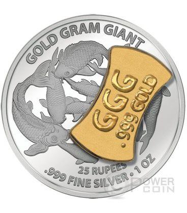 GOLD GRAM GIANT Cina Asia Edition Lingotto Oro Moneta Argento 25 Rupie Seychelles 2015