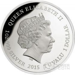 BLUE TONGUE LIZARD Remarkable Reptiles Moloch Plata Proof Moneda 1$ Tuvalu 2015