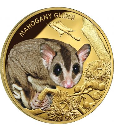 MAHOGANY GLIDER Extinct Endangered 1 oz Gold Proof Coin 100$ Niue 2015