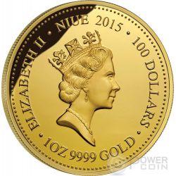 MAHOGANY GLIDER Extinct Endangered 1 oz Gold Proof Coin 100$ Niue 2015