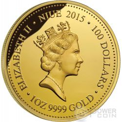 MAHOGANY GLIDER Extinct Endangered 1 oz Gold Proof Münze 100$ Niue 2015