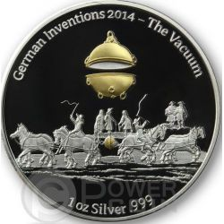 THE VACUUM German Inventions Sottovuoto Moneta Argento Proof 1 Oz 5 Cedis Ghana 2014