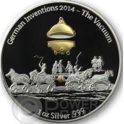 THE VACUUM German Inventions Sottovuoto Moneta Argento Proof 1 Oz 5 Cedis Ghana 2014