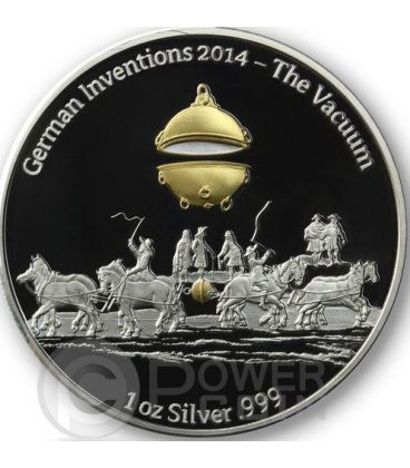 THE VACUUM German Inventions 1 Oz Proof Silver Coin 5 Cedis Ghana 2014