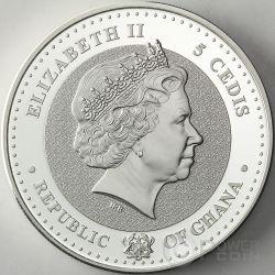 THE VACUUM German Inventions 1 Oz Proof Moneda Plata 5 Cedis Ghana 2014