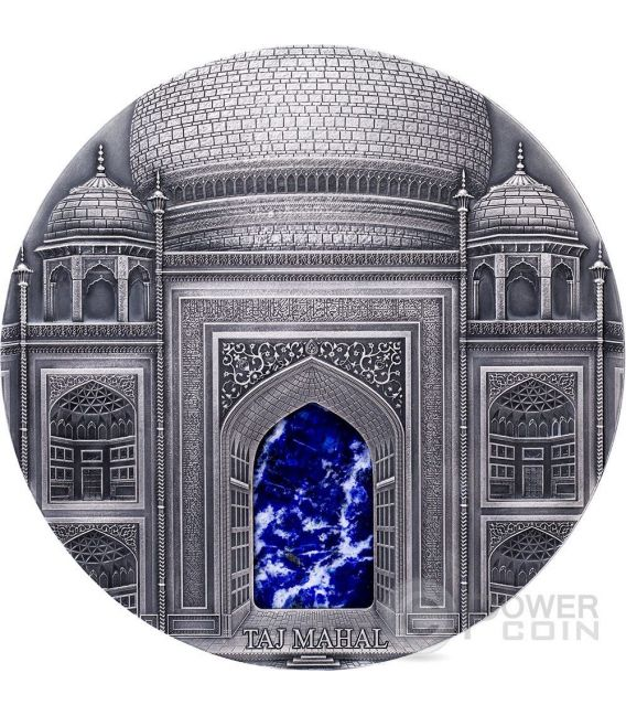 TAJ MAHAL Mineral Art Lapis Lazuli Alti Rilievi Moneta Argento 1 Kilo Kg 100$ Fiji 2014