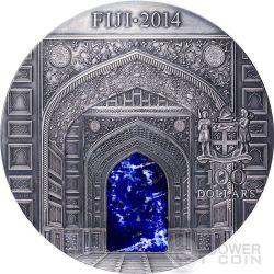 TAJ MAHAL Mineral Art Lapis Lazuli High Relief 1 Kilo Kg Silber Münze 100$ Fiji 2014