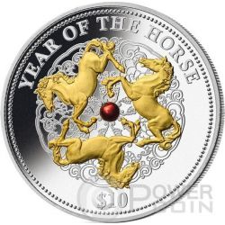 HORSE RED PEARL Chinese Lunar Year 1 Oz Silber Münze 10$ Fiji 2014