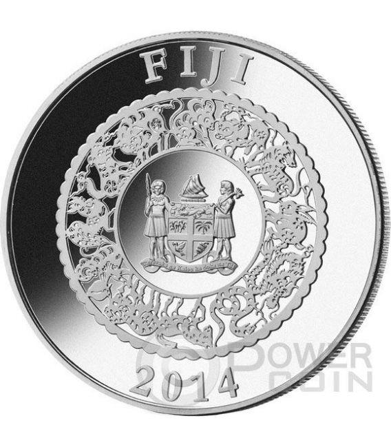 CAVALLO PERLA ROSSA Horse Anno Lunare Cinese Moneta Argento 1 Oz 10$ Fiji 2014