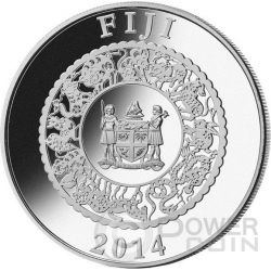 HORSE RED PEARL Chinese Lunar Year 1 Oz Moneda Plata 10$ Fiji 2014