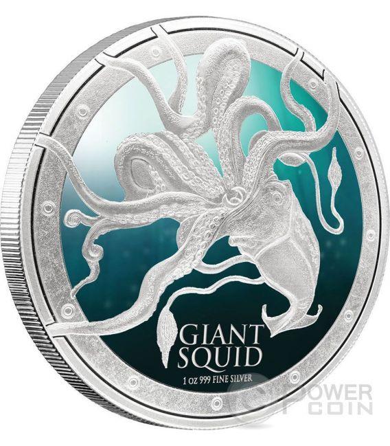 GIANT SQUID Calamaro Gigante Ocean Predators Moneta Argento 2$ Niue 2015