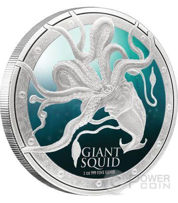 GIANT SQUID Ocean Predators Silver Coin 1 Oz 2$ Niue 2015