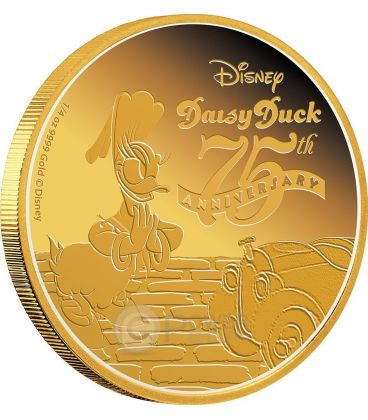 DAISY DUCK Paperina 75 Anniversario Disney Moneta Oro 25$ Niue 2015