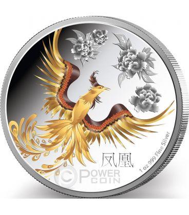 FENG SHUI PHOENIX Fenice Creatura Soprannaturale Moneta Argento 2$ Niue 2015