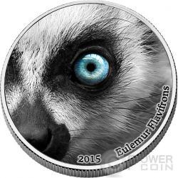 LEMUR Natures Eyes 2 Oz Moneda Plata 2000 Francs Congo 2015
