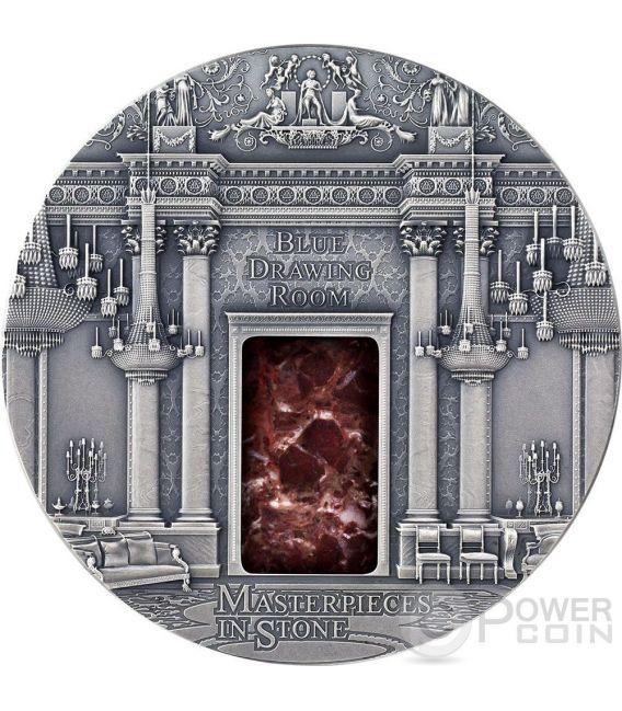 BLUE DRAWING ROOM Masterpieces In Stone Buckingham Palace Moneta Argento 3 Oz 10$ Fiji 2014