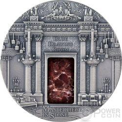 BLUE DRAWING ROOM Masterpieces In Stone Buckingham Palace 3 Oz Moneda Plata 10$ Fiji 2014