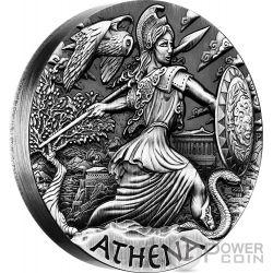 ATHENA Athens Goddesses of Olympus High Relief Rimless 2 Oz Silver Coin 2$ Tuvalu 2015
