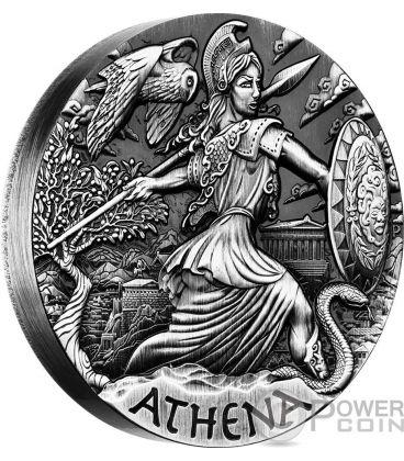 ATHENA Atena Dea Olimpo Goddesses of Olympus Alti Rilievi Moneta Argento 2 Oz 2$ Tuvalu 2015