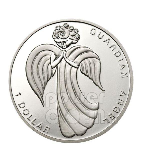 GUARDIAN ANGEL Silver Coin Swarovski 1$ Nauru 2009