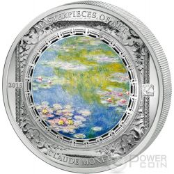 WATER LILIES Ninfee Claude Monet Masterpieces of Art 3 Oz Moneta Argento 20$ Cook Islands 2015