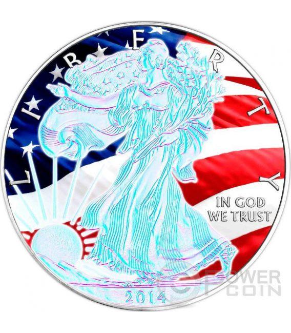 AMERICAN PATRIOTIC Silver Eagle Ologramma Walking Liberty Bandiera Moneta Argento 1$ US Mint 2014