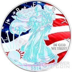 AMERICAN PATRIOTIC Silver Eagle Ologramma Walking Liberty Bandiera Moneta Argento 1$ USA 2014