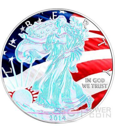AMERICAN PATRIOTIC Silver Eagle Hologram Walking Liberty 1 Oz Silver Coin 1$ US Mint 2014